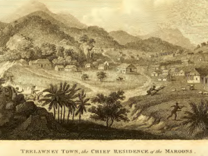 """""""Trelawney Town"""" (detail), from An historical survey of the island of Saint Domingo, together with an account of the Maroon negroes in the island of Jamaica; and a history of the war in the West Indies, in 1793 and 1794, by William Young (London: J. Stockdale, 1801), 374."""
