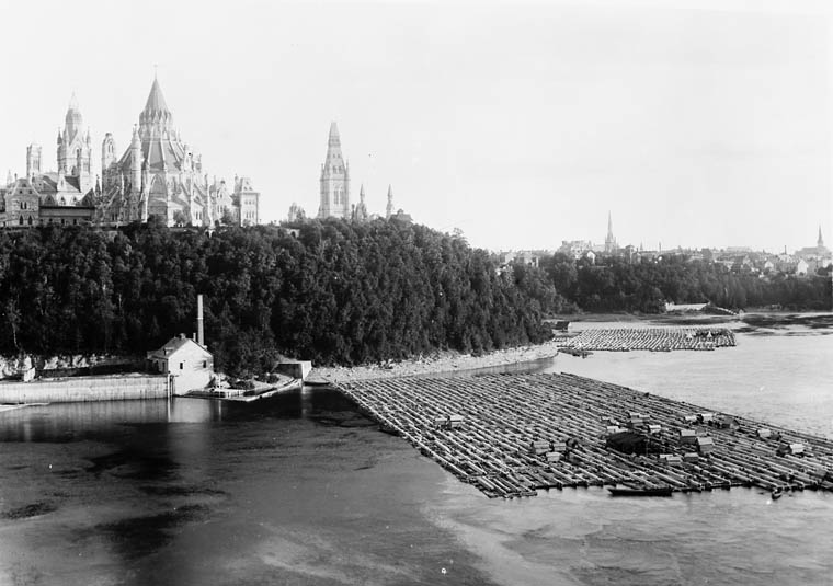 Timber raft below Parliament buildings, Ottawa River, 1882 https://en.wikipedia.org/wiki/Ottawa_River_timber_trade#/media/File:Timber_raft_parliament_buildings_1882.jpg