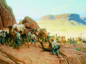 This Thomas Lovell painting depicts the arduous journey that the Camel Corp endured in the 1850s. Source: www.shraboise.com & armyhistory.org