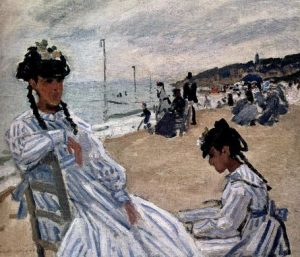 On The Beach At Trouville by Claude Monet; Source: WikiArt