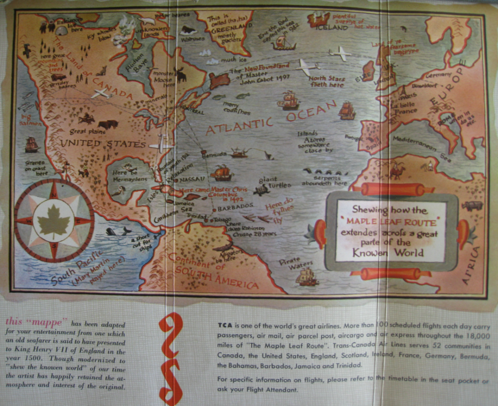"""1953 pictorial map of the """"knowen world,"""" part of TCA's seat-back package."""