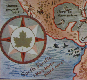 """Map detail showing the compass rose, the Panama Canal, and the popular show """"South Pacific."""""""