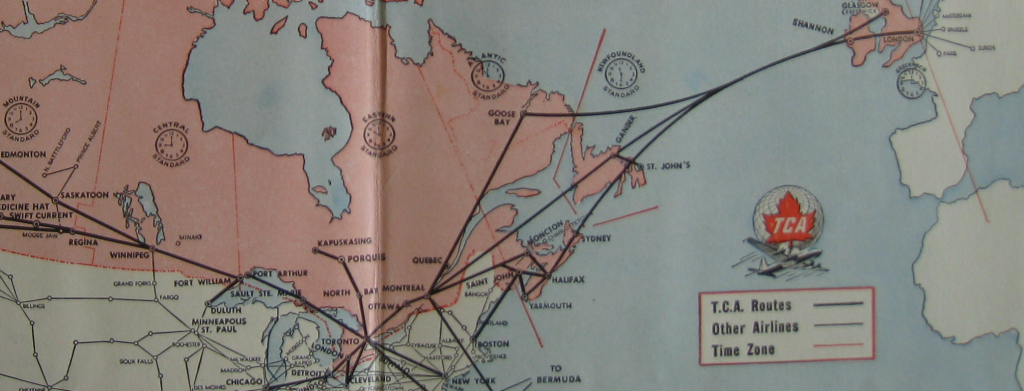 Detail from the inside of the 1950 flight folder. A more traditional air route map.