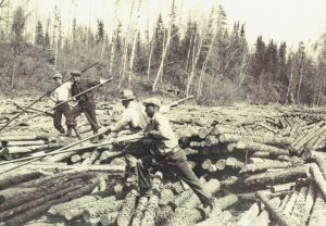 Log jam at a river bend ca. 1935.(Courtesy of the Fort Frances Museum & Cultural Centre, Fort Frances, Ontario)