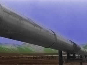 The recently completed Trans-Alaska Pipeline System, 1977. Library of Congress.