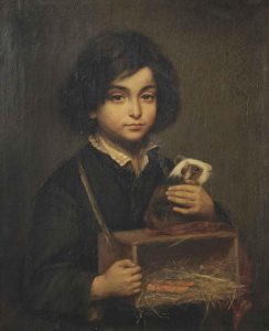 Wally Moes (1856-1918), Boy with Guinea Pig on its Cage, signed and dated Wally Moes, 1882.