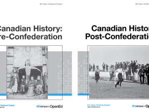 Covers from the Canadian history textbooks written for the BC Open Textbook Project.