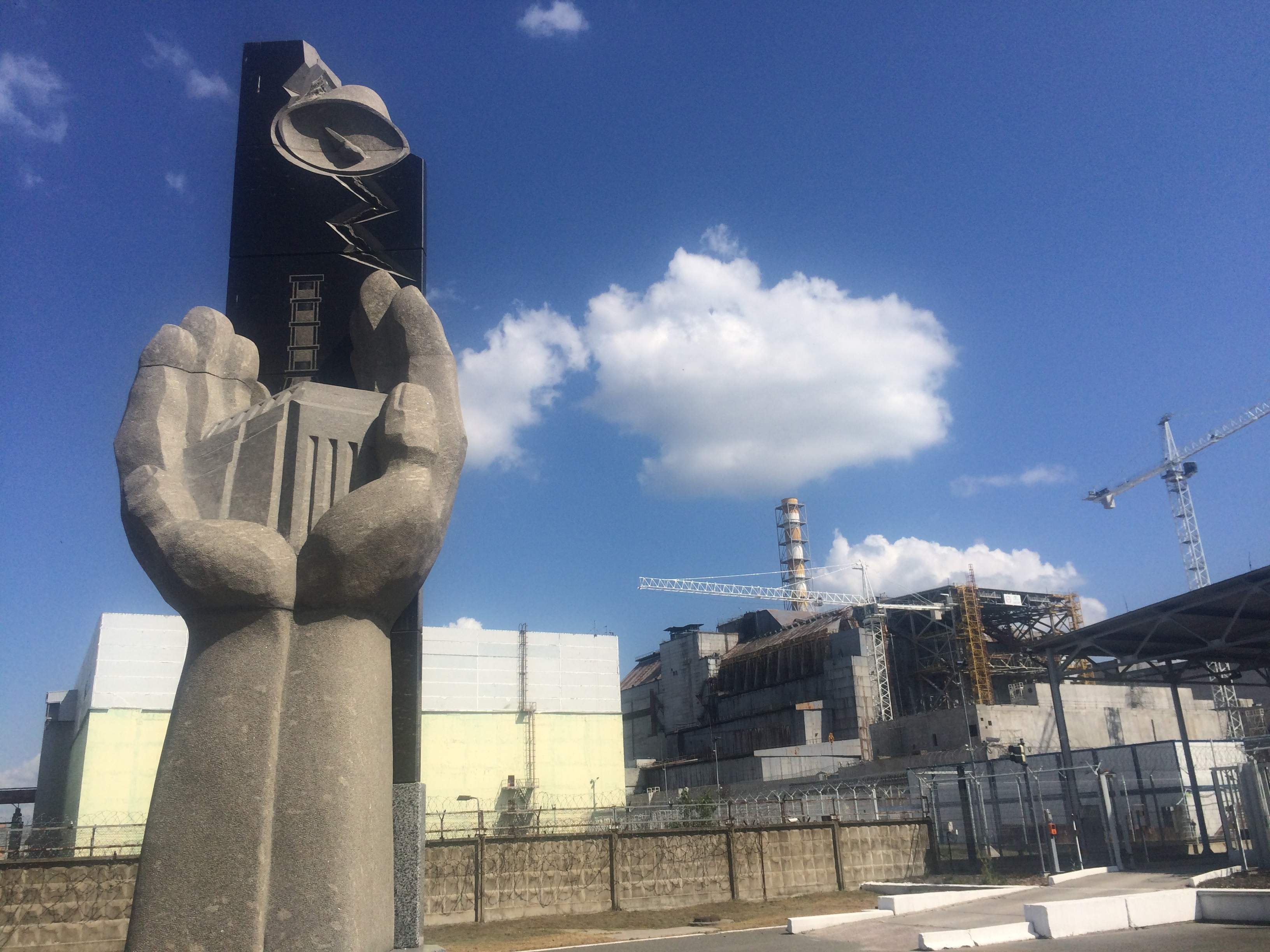 Reactor 4, the original sarcophagus, and the reactor 4 memorial. Source: Robynne Mellor