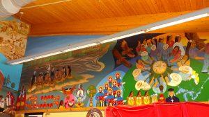 """""""Kiinwi Dabaadjmowin"""" mural at Lloyd S. King Elementary School."""