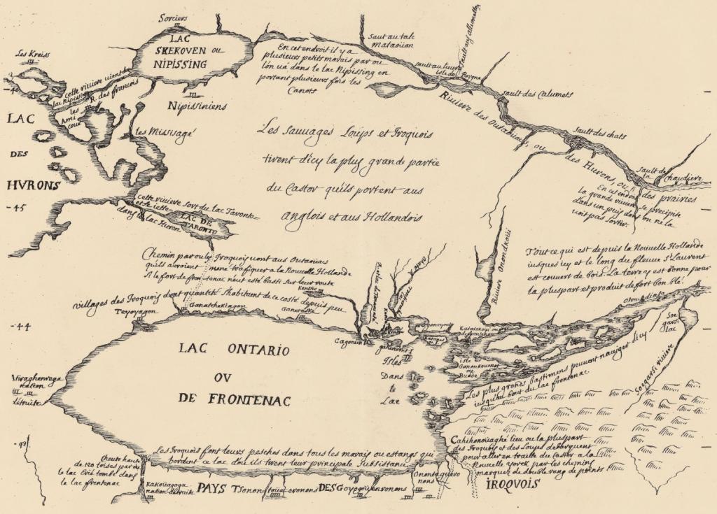 Carte du Lac Ontario ou de Frontenac. Source: gallica.bnf.fr / Bibliothèque nationale de France