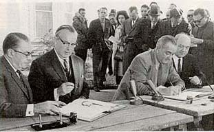 LBP and LBJ signing the Auto Pact
